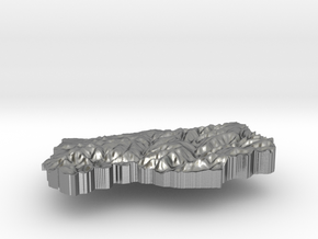 Lesotho Terrain Silver Pendant in Natural Silver