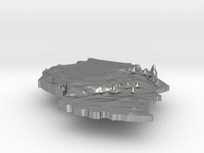 Tanzania Terrain Silver Pendant in Natural Silver
