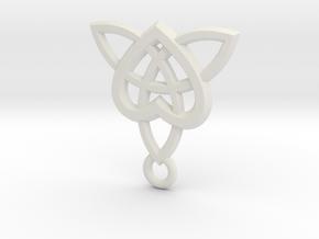 Celtic Heart Pendant in White Natural Versatile Plastic