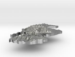 Scotland Terrain Silver Pendant in Raw Silver