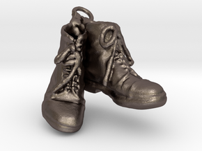 Two Boots in Polished Bronzed Silver Steel