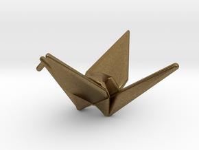 Origami Crane in Natural Bronze
