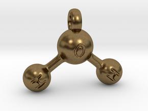 Water Molecule Keychain in Natural Bronze
