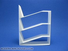 Slant 1:12 scale Bookshelf in White Processed Versatile Plastic