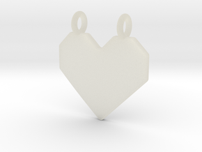 Origami Heart Pendant in Transparent Acrylic