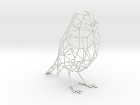 Bird wireframe (with eyes) - smaller version in White Natural Versatile Plastic