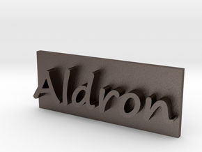 Aldron Brand Plate in Polished Bronzed Silver Steel