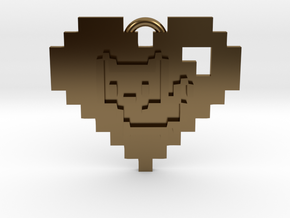 Kitten Heart Necklace Pendant in Polished Bronze