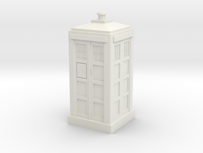 TARDIS Mini 30mm Scale in White Strong & Flexible