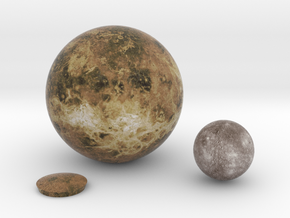 Mercury & Venus to scale (other planets available) in Full Color Sandstone