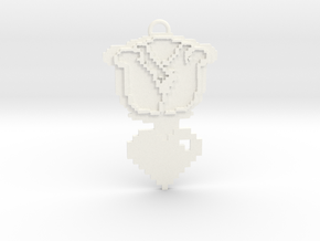 Rose and Heart Necklace Pendant  in White Processed Versatile Plastic