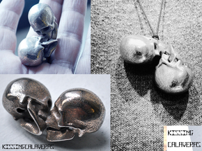 KissingCalaveras in Polished Bronzed Silver Steel
