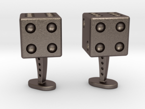 Dice Cufflinks in Polished Bronzed Silver Steel