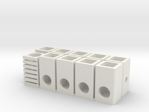 H0 Sewer inspection shafts 1:87 in White Natural Versatile Plastic