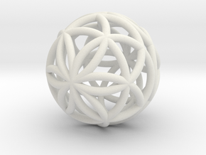 3D 33mm Orb of Life (3D Seed of Life) in White Natural Versatile Plastic