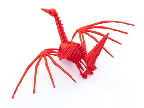 Origami Crane Skeleton in Red Strong & Flexible Polished