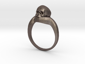 150109 Skull Ring 1 size 7 in Polished Bronzed Silver Steel
