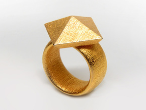 Pyramid Ring size 7 in Polished Gold Steel