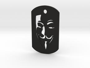 Guy Fawkes DogTag-non metal in Black Natural Versatile Plastic