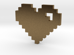 8 Bit Heart (Pixel Heart) in Natural Bronze