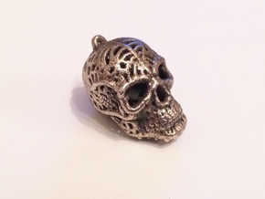 Filigree Sugar Skull Pendant 2 in Polished Bronze Steel