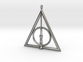 Deathly Hallows Pendant with Harry Potters's Wand  in Polished Silver
