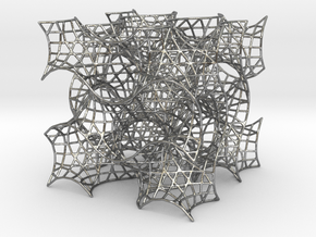 Gyroid Mesh-1.5 cells on a side in Natural Silver