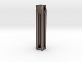 Minimalistic Tritium Pendant in Polished Bronzed Silver Steel