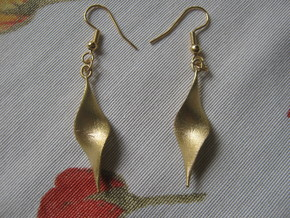Double Twist 1 Earrings in Raw Brass