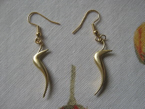 Hippocamp Earrings in Natural Brass