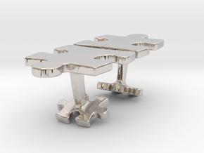 Puzzle Cufflinks Inverted in Platinum