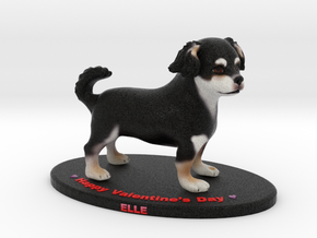 Custom Dog Figurine - Elle (Valentine's Day) in Full Color Sandstone