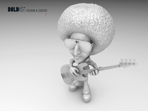 Funky Bass Player in White Processed Versatile Plastic