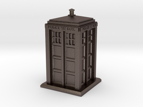 28mm/32mm scale Police Box in Polished Bronzed Silver Steel