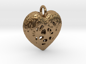 Heart Valentine's Day Pendant in Natural Brass