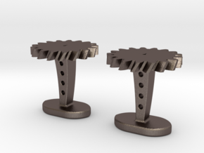 Helical Gear Cufflinks in Polished Bronzed Silver Steel