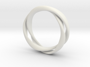 3-Twist Ring in White Natural Versatile Plastic