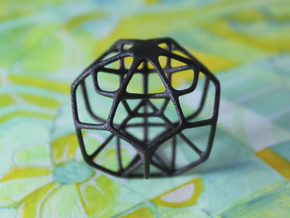 Dissected Polyhedron in Matte Black Steel