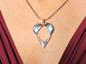 Mobius Band Heart Pendant in Fine Detail Polished Silver