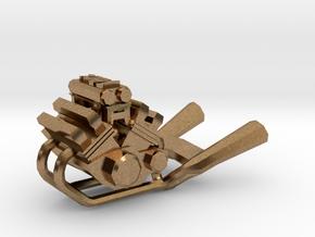 Yamaha Vmax engine keychain in Natural Brass