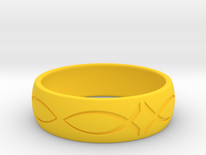 Size 6 Ring engraved in Yellow Processed Versatile Plastic