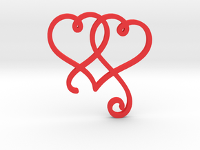 Linked Swirly Hearts (~2mm depth) in Red Processed Versatile Plastic