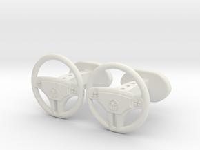 Mercedes steering wheel cufflinks in White Natural Versatile Plastic