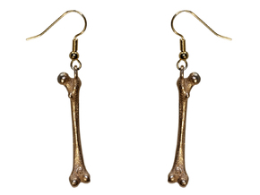 Human Femur Pendant or Earring in Polished Bronzed Silver Steel