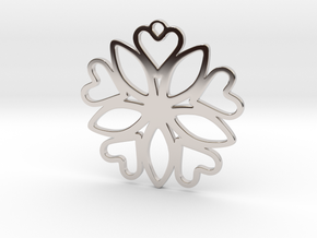 Heart Pendant - Floral  in Platinum
