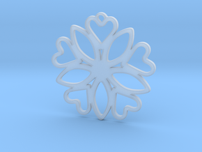 Heart Pendant - Floral  in Smooth Fine Detail Plastic