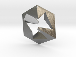 Flat Cube in Natural Silver
