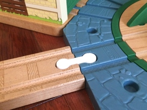 Mini Wooden Railway Male to Male Connector in White Natural Versatile Plastic