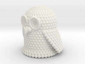 Pondering Owl in White Natural Versatile Plastic