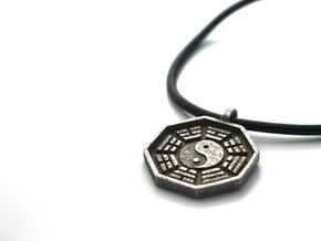 I Ching - Yin Yang Pendant Necklace in Polished Bronzed Silver Steel